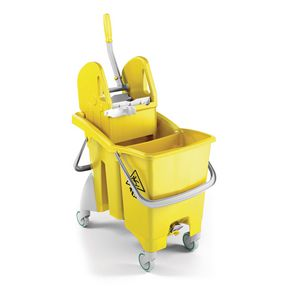 Mobile double mop bucket with drain plug