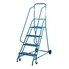 Retractable wheel mobile steps