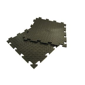 Heavy duty chequer plate interlocking floor tiles