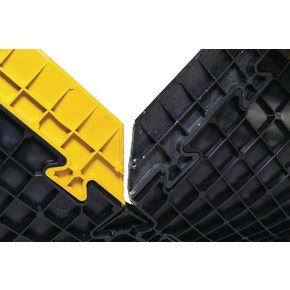 Chequer plate interlocking floor tile edging strip - male yellow