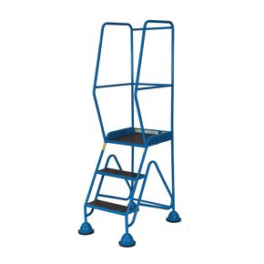 Easy glide mobile cup steps with high handrail