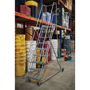Retractable wheel warehouse step with high handrail