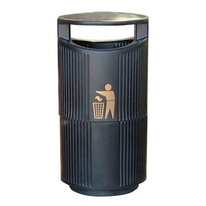 Hooded outdoor litter bin