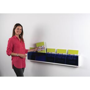 Acrylic fronted wall mounted literature dispenser shelf