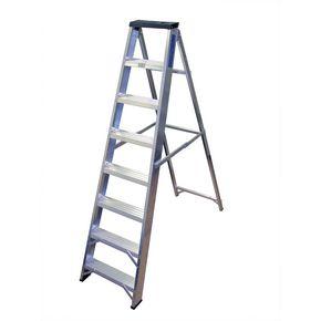 Industrial heavy duty aluminium swingback steps with tool tray - EN131 Professional