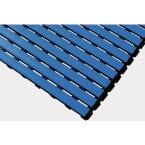 Luxury slatted PVC wet area matting, Blue 10m roll
