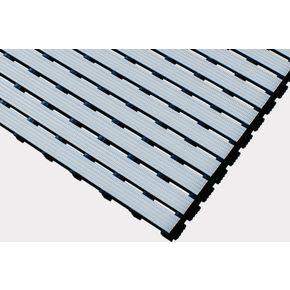 Luxury slatted PVC wet area matting, Grey 1m cut length