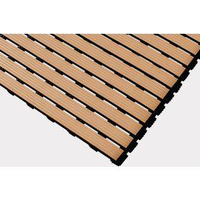 Luxury slatted PVC wet area matting, Beige 1m cut length