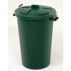 90L Dustbin with clip on lid , green