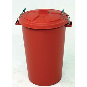 90L Dustbin with clip on lid , red