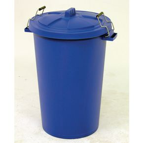 Coloured dustbin with clip on lid , blue