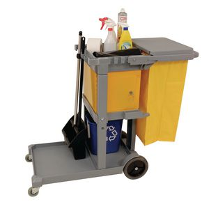 Multi-purpose cleaning trolley complete with bag and lockable box