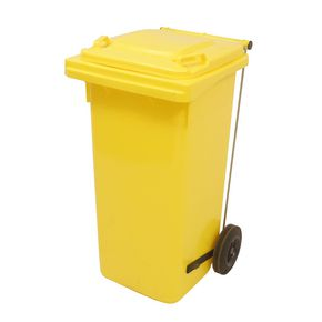 Pedal operated wheelie bins, 80L Yellow