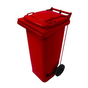 Pedal operated wheelie bins, 80L Red