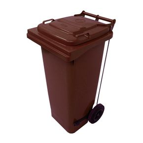 Pedal operated wheelie bins, 80L Brown