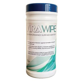 Virawipe high performance bio-degradable surface santiser wipes, 80 pack
