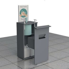Steel hand sanitiser station