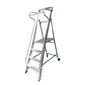 Wide tread aluminium stepladders with fully enclosed work platform