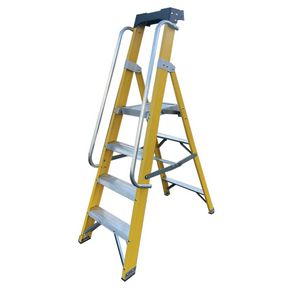 EN131 Professional fibreglass platform steps with handrails