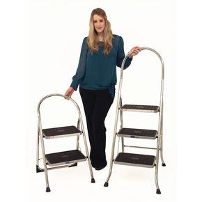 Chrome folding step stools