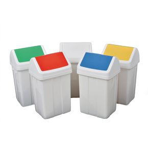 Coloured lid recycling swing bins