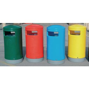 Outdoor hooded top litter bins