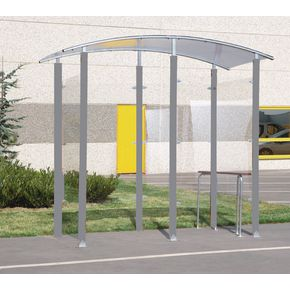 Steel frame smoking shelter and perch seat