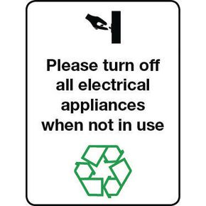 Energy saving signs - Please turn off all electrical appliances