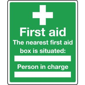 Safe condition and first aid signs - The nearest first aid box is situated
