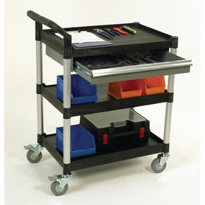 Plastic shelf tray trolleys with drawers