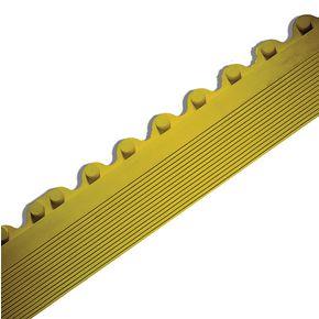 Bevelled edges for rubber interlocking floor tiles