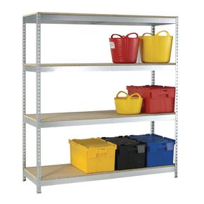 Heavy duty galvanised shelving - additional chipboard shelves