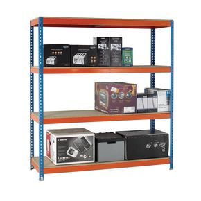Heavy duty boltless chipboard shelving 2m high