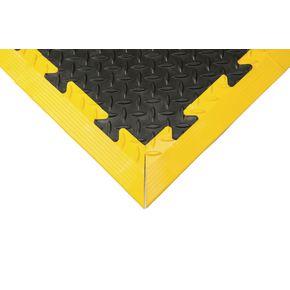 Edge strips for heavy-duty chequer plate interlocking floor tiles