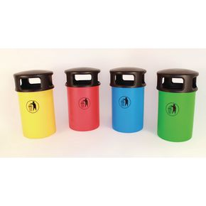 Hooded plastic litter bin