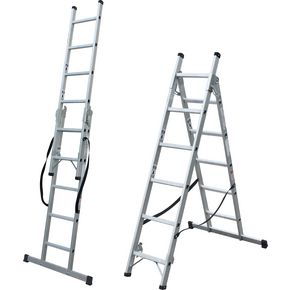 Transformable 2 and 3 section combination ladders
