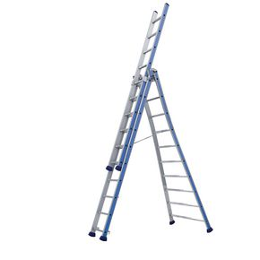 Heavy duty combination ladders with splayed base