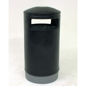 Outdoor hooded top bins with stainless steel stubber plate