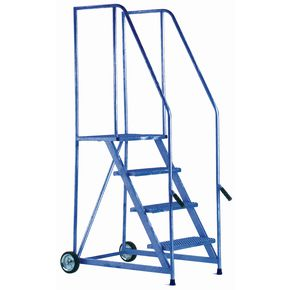 Painted steel tilt and push mobile steps