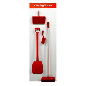 Brush and shovel cleaning station