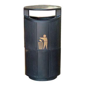 Hooded outdoor litter bin