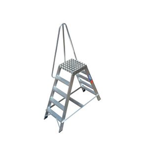 Aluminium platform steps with handrails - double sided