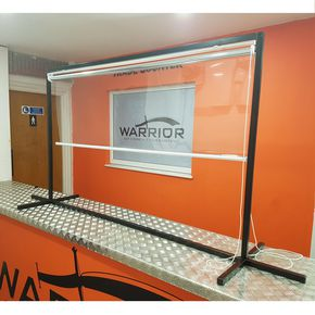 Free standing roller blind protection screen