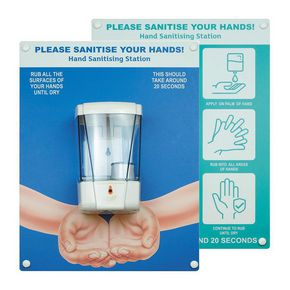 Wall board including automatic hand dispenser
