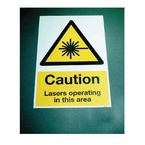 Floor signs - Caution lasers operating in this area