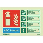Photoluminescent Fire extinguisher identification signs - ABC powder