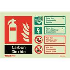 Photoluminescent Fire extinguisher identification signs - Carbon dioxide