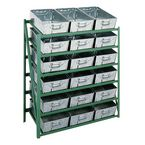 Tote pan rack - shelf levels - With tilted pans