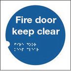 Health and safety tactile signs - Fire door keep clear