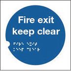 Health and safety tactile signs - Fire exit keep clear